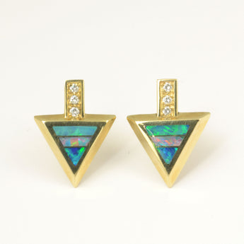 Australian opal earrings with diamonds in 14k gold.
