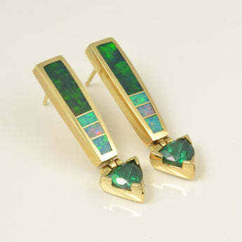 Australian opal inlay earring with green topaz in 14k gold