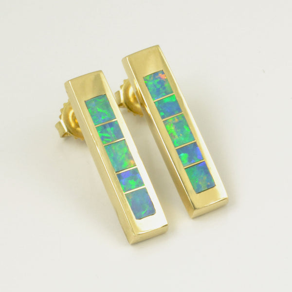 Australian opal inlay earrings in 14k yellow gold by Hileman.