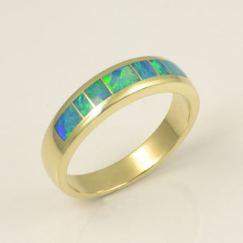 Australian opal ring for men in 14k gold by Hileman