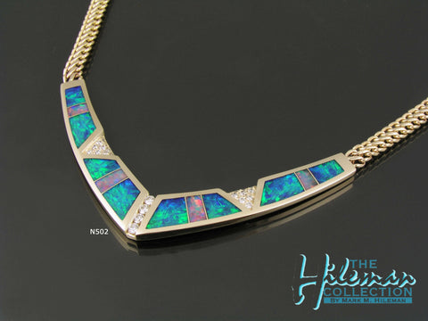 Australian Opal necklace with diamond accents set in 14k yellow gold by The Hileman Collection.