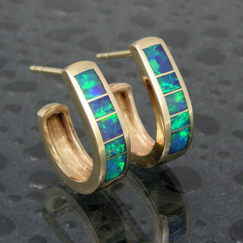 Australian opal hoop earrings in 14k gold by Hileman