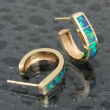Australian opal earrings in 14k gold by Hileman