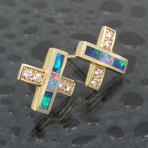 Australian opal and diamond earrings by Hileman