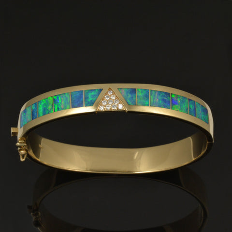 Diamond and opal bracelet inlaid with blue-green Australian Opal by The Hileman Collection.