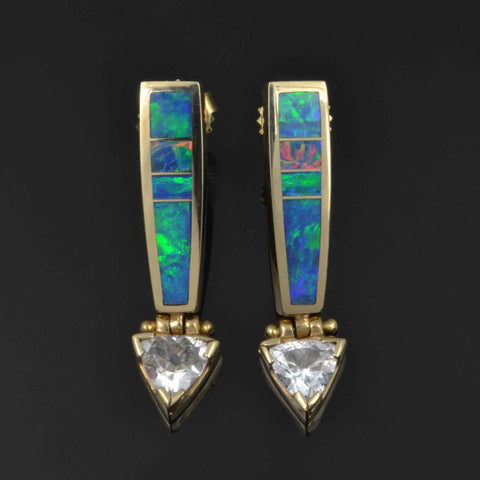 Australian Opal Earrings with Trillion White Sapphires