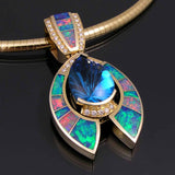 Opal and diamond pendant with fantasy cut topaz set in 14k gold
