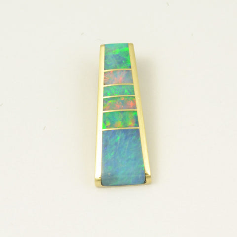 Opal inlay pendant in 14k gold by Hileman
