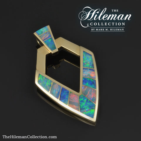 Australian opal pendant inlaid with genuine opal by Hileman.