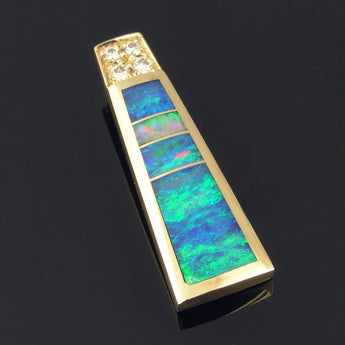 Australian Opal Pendant with Pave` Diamonds Set in 14k Gold