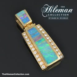 Australian opal inlay pendant with diamonds by The Hileman Collection