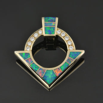 Australian opal pendant with diamonds in 14k gold by Hileman