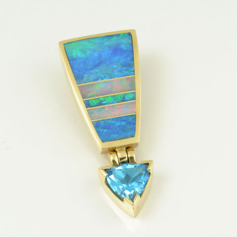 Topaz and opal pendant in yellow gold