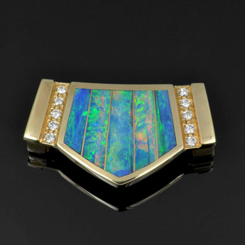 Australian opal slide pendant in 14k yellow gold with diamonds.