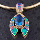 Topaz and opal pendant with diamond accents by The Hileman Collection.