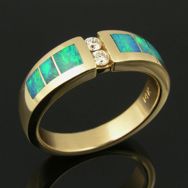 Australian opal wedding ring with diamonds in 14k gold