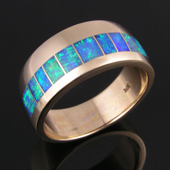 Men's Australian Opal Wedding Ring in 14k gold