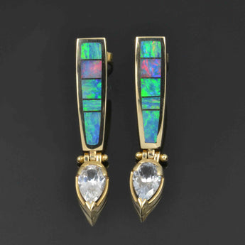 Australian opal earrings with pear white sapphires in 14k gold by Hileman.