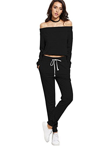 Two Piece Crop Top and Sweat Pant Set Sport Tracksuit Outfit