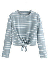 Women's Knot Front Cuffed Sleeve Striped Crop Top Tee T-Shirt