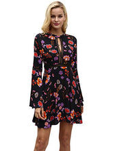 Sexy Halter Floral Print Swing Casual A Line Mini Dress