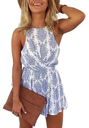 Sleeveless Boho Floral Print Backless Romper Shorts Beach Jumpsuit