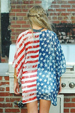 Women's American Flag Chiffon Kimono Cardigan Summer Beachwear Swimsuit Cover