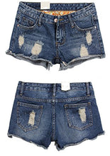 Vintage Low Waist Fringe Denim Shorts