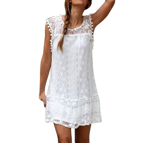 Sleeveless Lace Dress Mini Dress Tassel Mini Dress