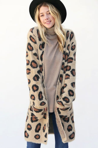 Leopard Long Fuzzy Cardigan