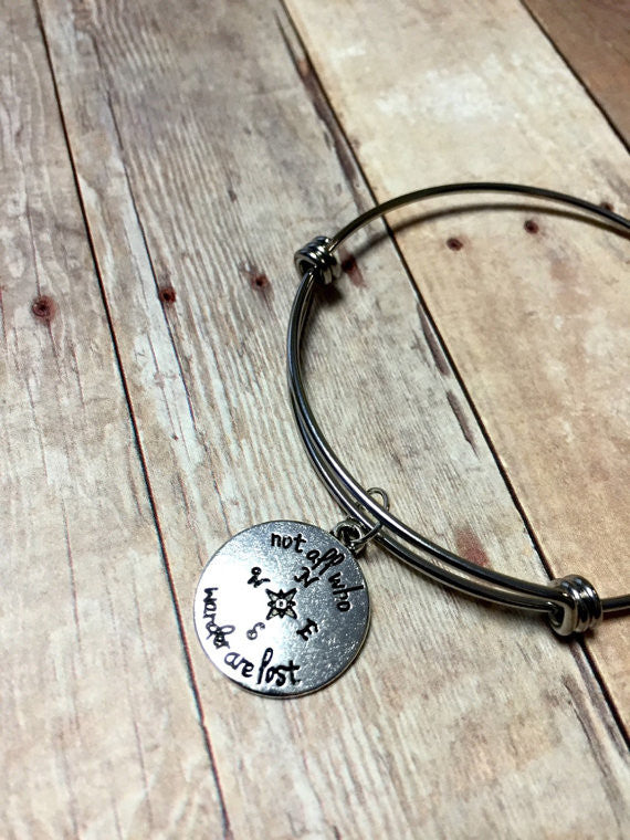 Wanderlust bangle bracelet, Adjustable bangle bracelet, Follow your own arrow bracelet, gift for her