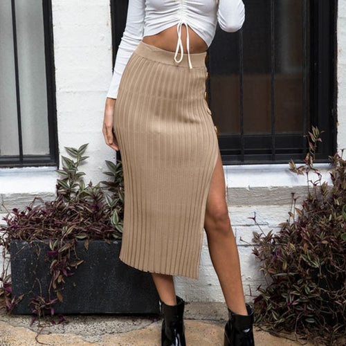 Knitted Button Split Skirt