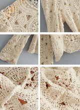 Vintage Beige Hollow Out Knitted Floral Top