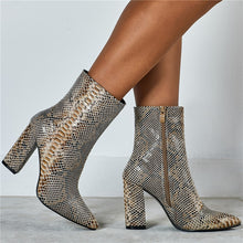 Snake Print Ankle Boots Square Heel
