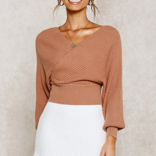 V Neck Criss Cross Crop Sweater