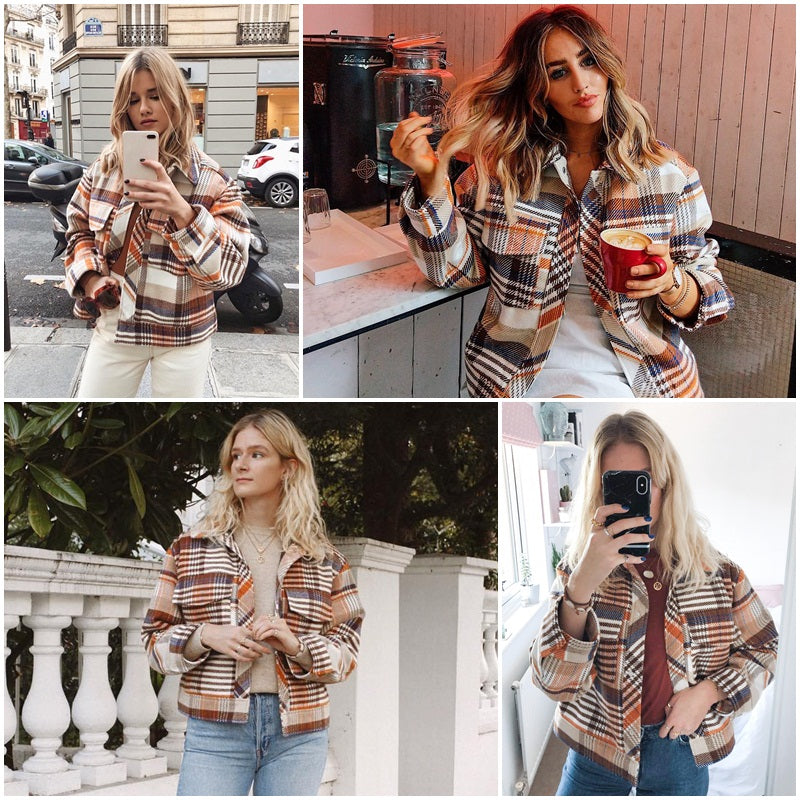 Single Breasted Oversized Plaid Jacket