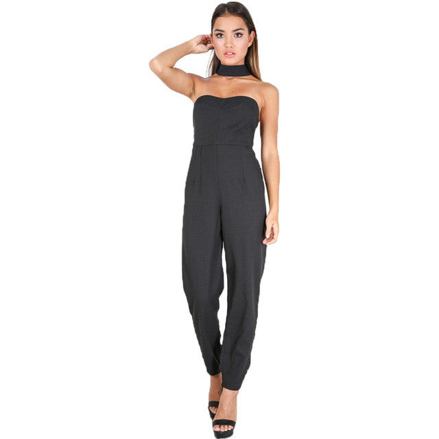 Retro Black Strapless Choker Neck Long Jumpsuit