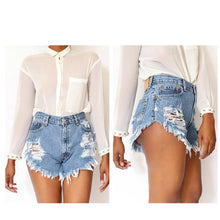 Ripped Hole Tassel Mid Waist Denim Shorts