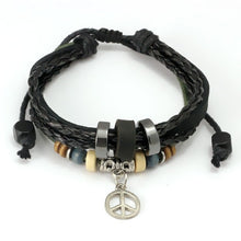 Wrap Black Leather Bracelet With Braided Love and Leaf Bracelet
