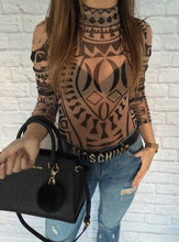 Sexy Elegant Women Tattoo Totem Printed Bodysuit