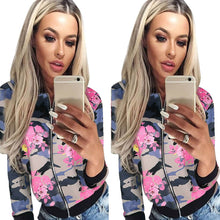 Vintage Women Floral Print Ladies Biker Jacket