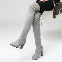 Stretch Faux Suede Thigh High Boots