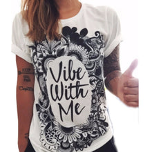 "White Print T-shirt ""Vibe With Me"""