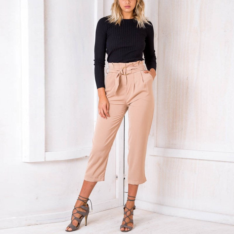Ruffled-Belt High-Waist Women Pants