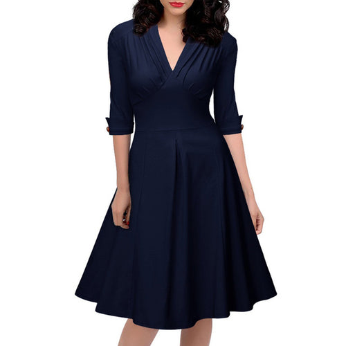 Vintage 3/4 Sleeve V Neck  Pleated A-line Dresses