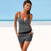 Two Piece Tankini Padded Bathing Suit Polka Dot High Waist Bikini Set