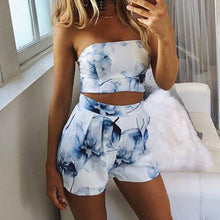 Strapless  Floral Printed Crop Top + Shorts