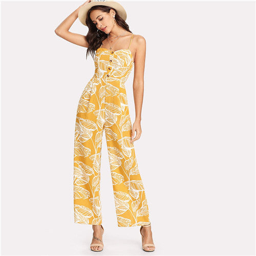 Spaghetti Strap Boho High Waist Tropical Palm Leaf Print Shirred Wide Leg Jumpsuit