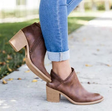 Vintage Square Chunky Mid Heel Ankle Boots