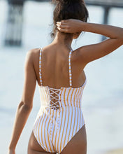 Striped Push Up One Piece Swimsuit